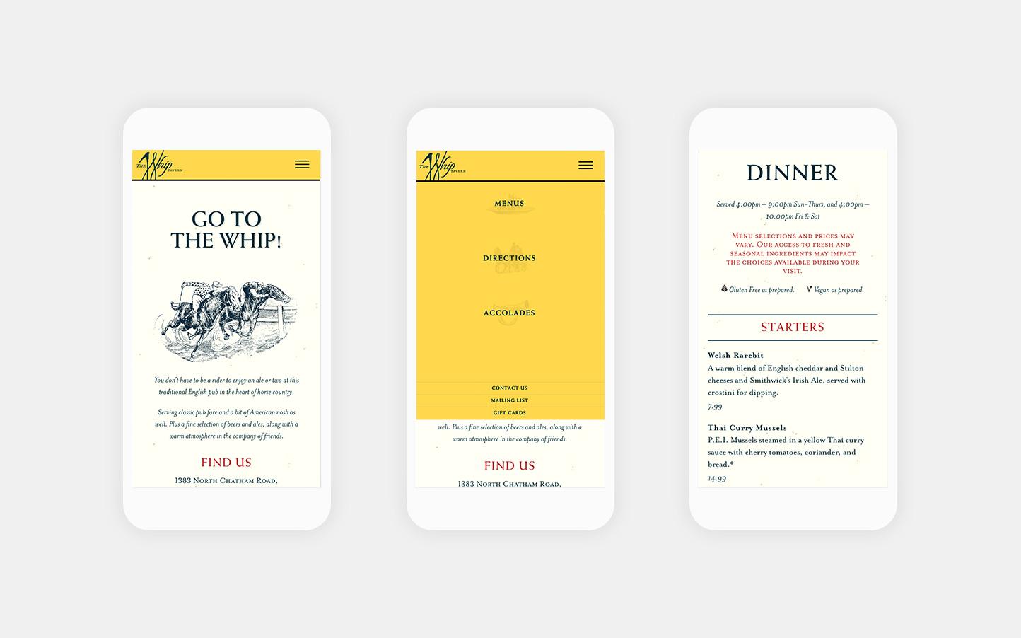 The Whip Tavern Mobile Web Design